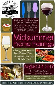 Event Poster with Picnic Basket, Wine Glass and Local Food