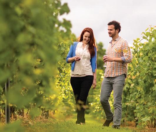 Couple Walking in Vineyard - Photo Courtesy of Illinois Office of Tourism